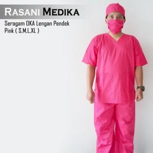 Baju kamar operasi pendek (Baju OK) pink
