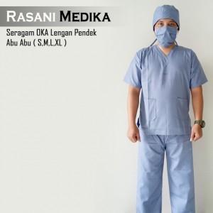 Baju Kamar Operasi Pendek (Baju OK) Abu-abu
