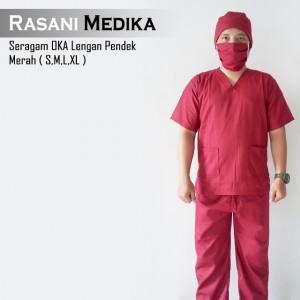 Baju Kamar Operasi Pendek (Baju OK) Merah
