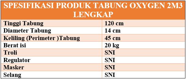 Spesifikasi Oxygen lebfkap 2m3